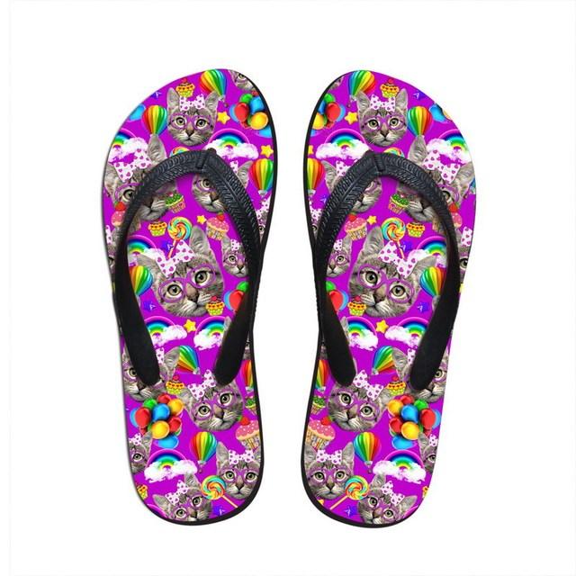 Модный симпатичные девушки в тапочки летние сандалии дамы красочные кошка печать ...