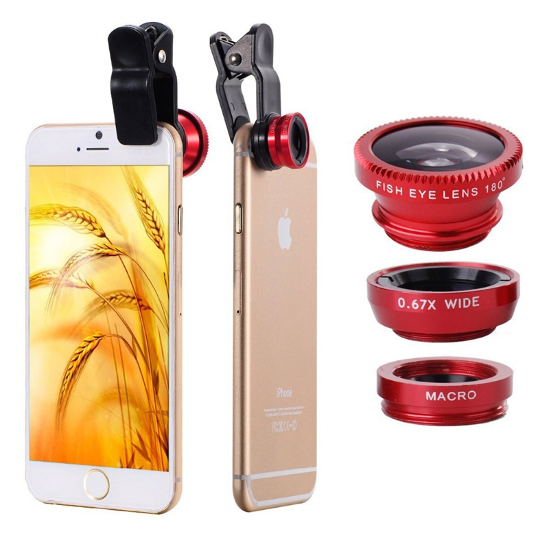 Clip 3in1 Fisheye fish eye Lens + Wide Angle + Macro Mobile Phone Lens photo Kit Set for iPhone 5S 6 6plus for Samsung S4 S5 S6(China (Mainland))
