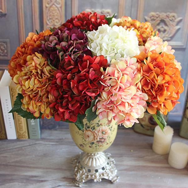 Wine Red Vintage Artificial Silk Peony Flower Arrangement Bouquet Room Hydrangea Hold Flowers Decor(China (Mainland))