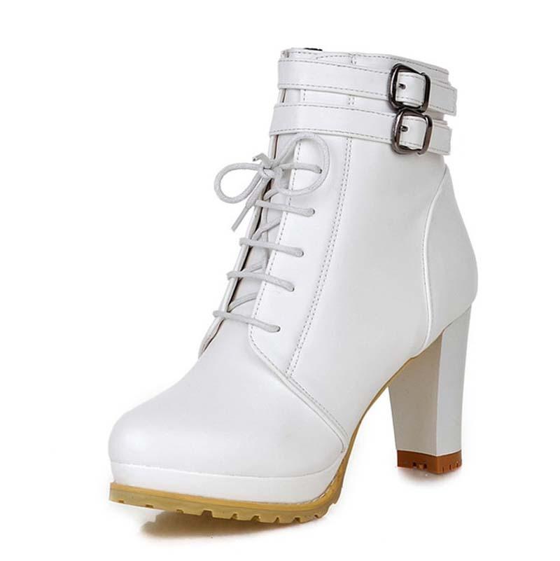 Women Thick Heel Ankle Boots Heels Lace Up Short Boots Platform Fashion Autumn Winter Pump Shoes Big Size43 Martin boots