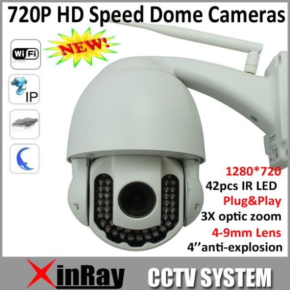 New ip Speed Dome h.264 hd 720p Wifi Wireless PTZ IR Cut Waterproof Outdoor Indoor Speed Dome IP 3x Optical Zoom Camera AP005<br>