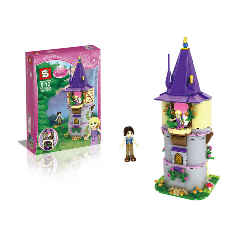 316pcs SY324 Rapunzels Creative Tower Minifigures Tangled Princess Action Figures Buliding Blocks Compatible With LEGO<br><br>Aliexpress