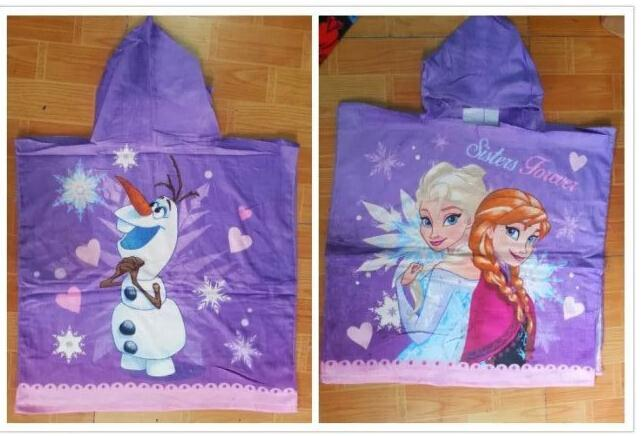New style kids cartoon hooded towels boys girls olaf beach towel baby lovely printed snow queen towels in stock(China (Mainland))