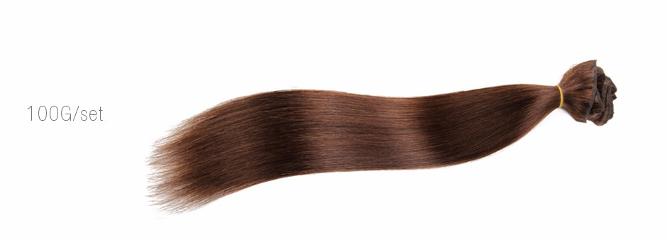 70g-200g/Set Clip In Human Hair Extensions #4 Dark Brown Peruvian Straight Hair Clip Ins For Women'S Beauty Acessories
