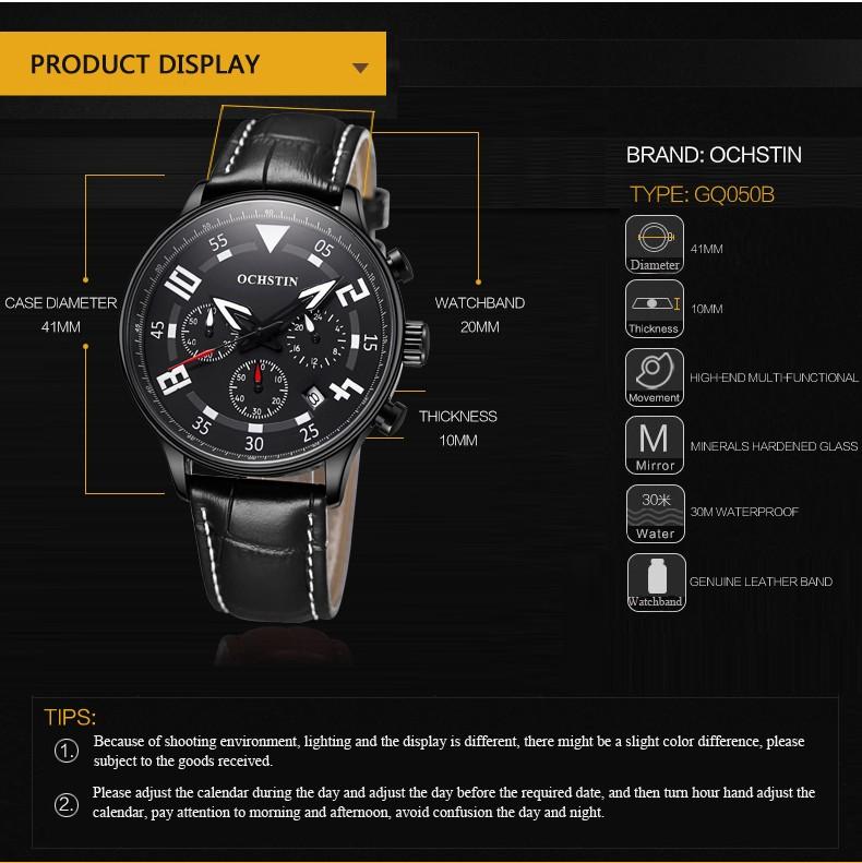 Ochstin Leather Wrist Men Watch Luxury Brand Shock 2017 Men'S Sports Watch Military Wrist Chronograph Quartz Watch Water Resist