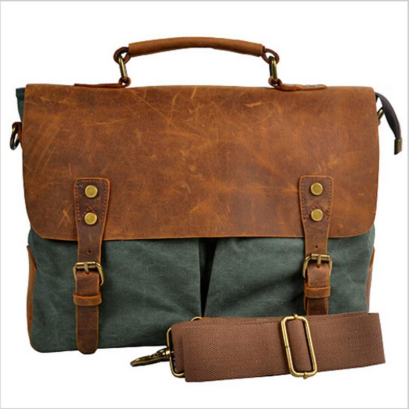 2016 wholesales men messenger bags new arrival fashion male single-shoulder bag men's Retro canvas bags genuine leather bag(China (Mainland))