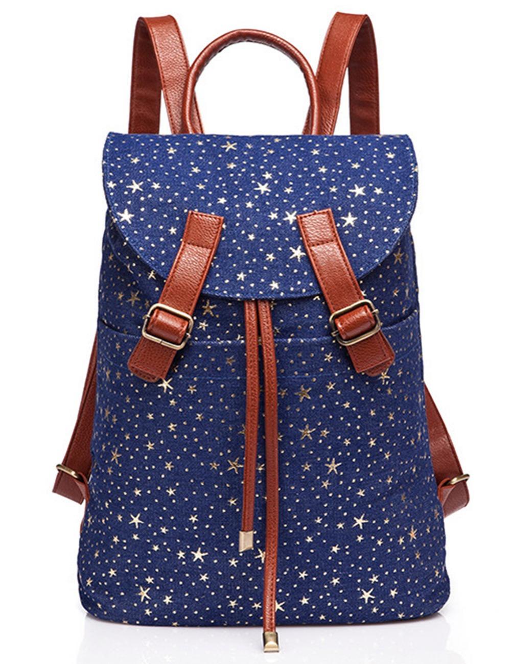 New Arrival Charming Backpack For Girl Rucksack Shoulder Bag blue star backpack floral canvas School backpack(China (Mainland))