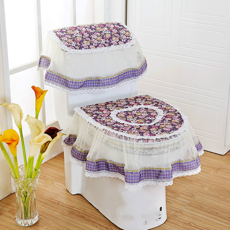 3PCS/Set Fashion Lace Toilet Lid Cover Potty Closestool Seat Pad Bathroom Tank Cover(China (Mainland))