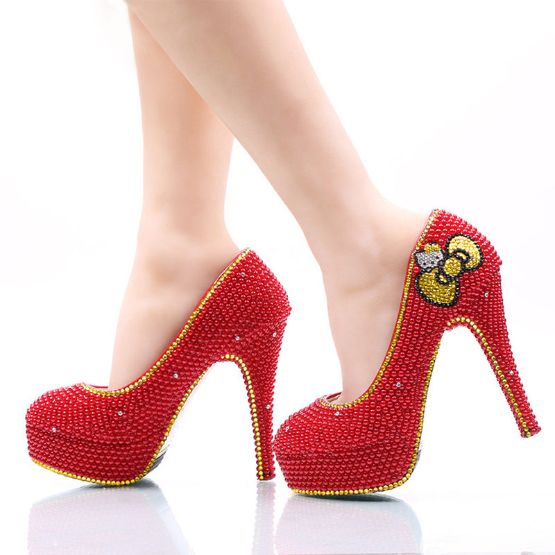 2017 Red Pearl Wedding Shoes with Gold Rhinestone Hello Kitty Bridal Dress Shoes Wedding Party High Heels Banquet Prom Pumps(China (Mainland))