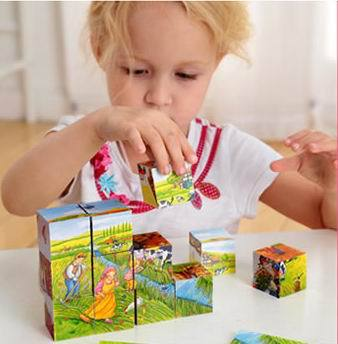 12pcs Kids wooden blocks assemble cartoon blocks 6 sides 15.5*11.5*4cm birthday gifts Christmas gifts Children educational toys(China (Mainland))