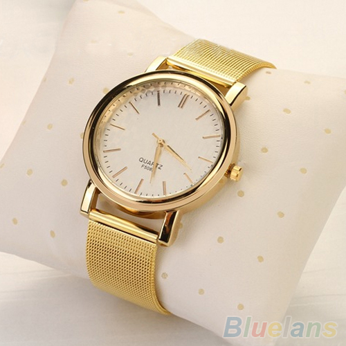 Luxury Women Men Golden Plated Metal Mesh Band Round Dial Quartz Analog Wrist Watch 1SAY - BlueSky- store