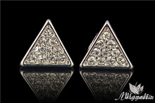 2015 High Quality Hip Hop Accessories Super Man Triangle Sparkling Personalized Stud Earrings For Men Gift 10MM EM09(China (Mainland))