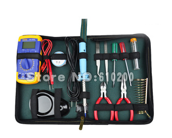 12 pc Home Electronics Repair tools Kit Set electronic network computer telecommunications Multimeter+soldering iron+pliers