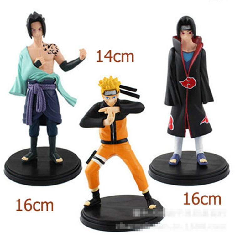3pcs/set New Design Hot Sale Naruto Dolls 14-16cm Unisex Naruto Soldier Set Toy Figures For Kids Boys Adult Gift WL003(China (Mainland))