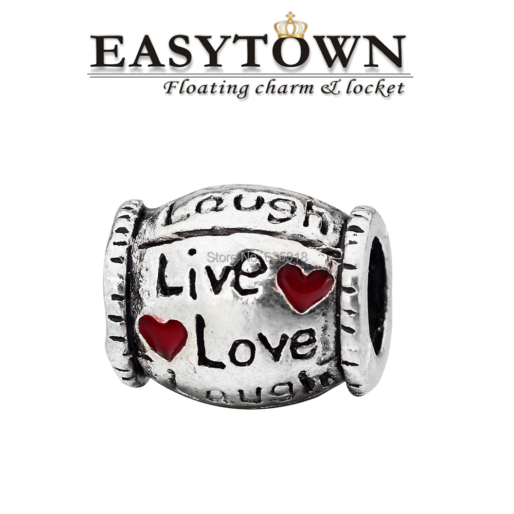 Latest fancy Zinc alloy love laugh with red heart European beads fits bracelets free shipping(China (Mainland))
