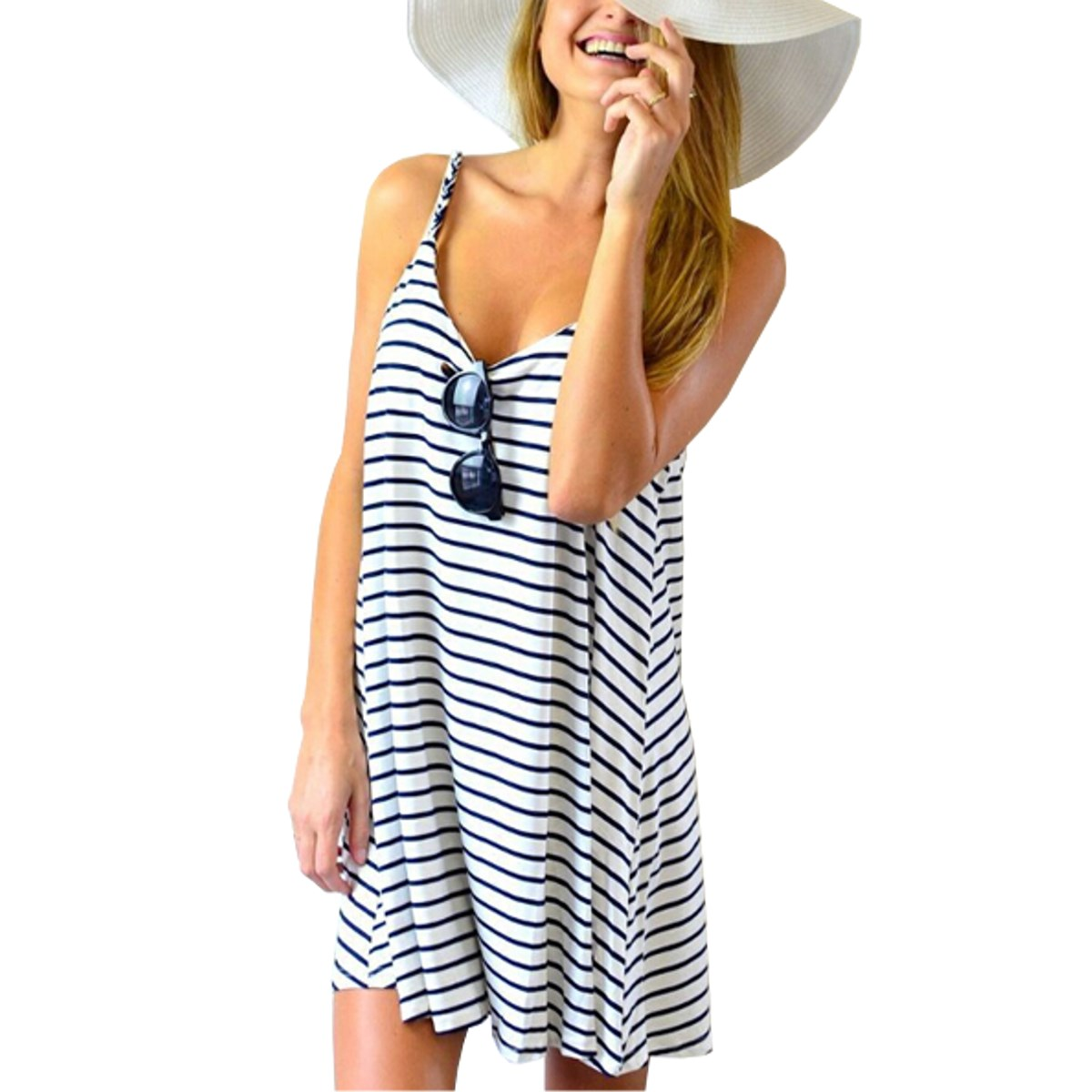 Plus Size S-3XL Summer Style Women Dress 2016 Ladies Strap Stripe Sleeveless Sexy Mini Dress Casual Beach Mini Dresses Vestidos