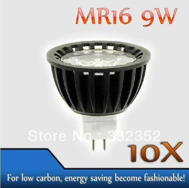 High power 10pcs/lot MR16  3leds Dimmable 3X3W 9W High Power LED Lights LED Bulb Lamp Led Spotlight
