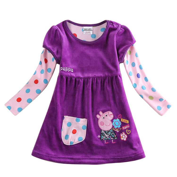 New winter toddler dresses Nova kid brand girl's dress fashion Shear plush baby frocks casual long sleeves children's clothes(China (Mainland))