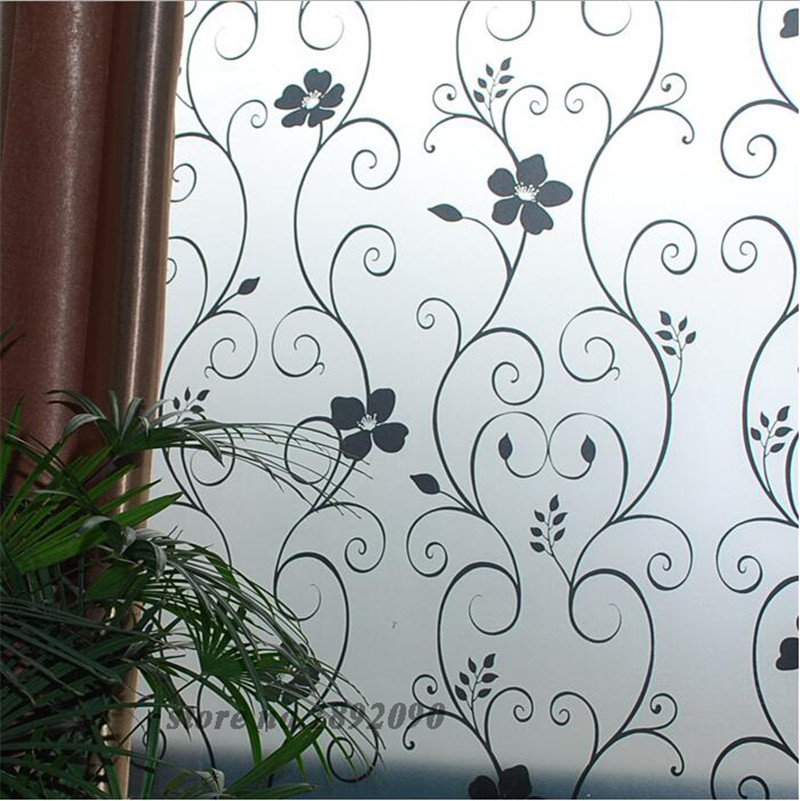 """45*100cm/17.7""""*39.4"""" Frosted Opaque Glass Window Film Privacy Glass Stickers Home Decor Black&white Wrought Iron Flower ST029(China (Mainland))"""