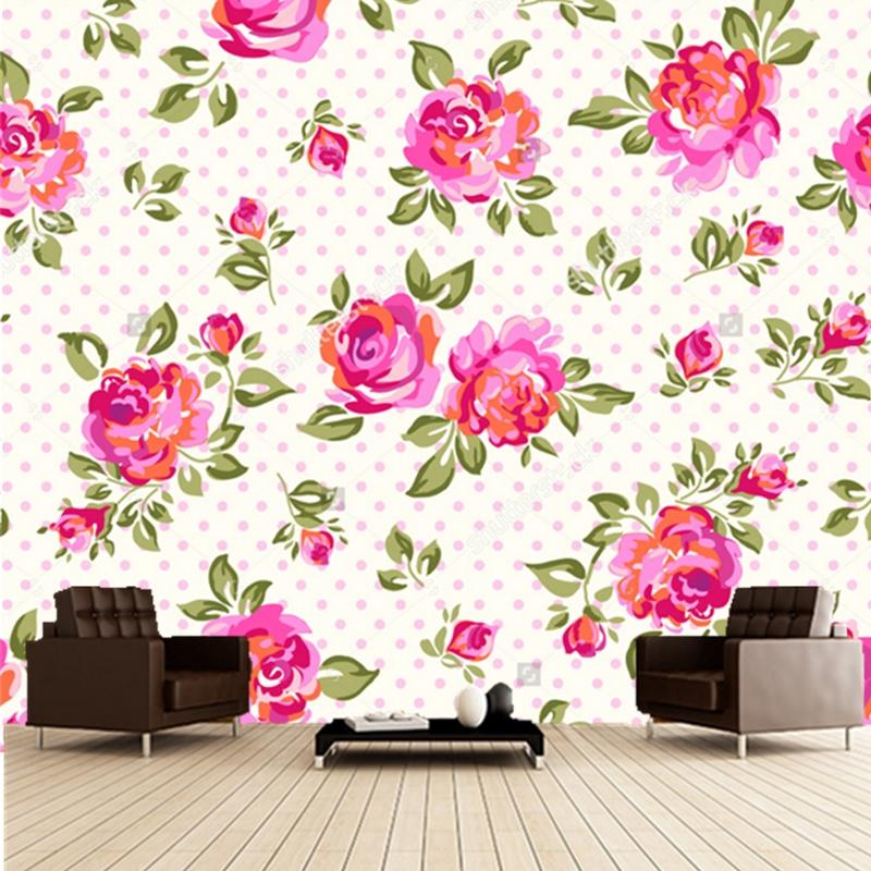 Custom floral wallpaper rose 3d retro wallpaper for the for Floral wallpaper living room
