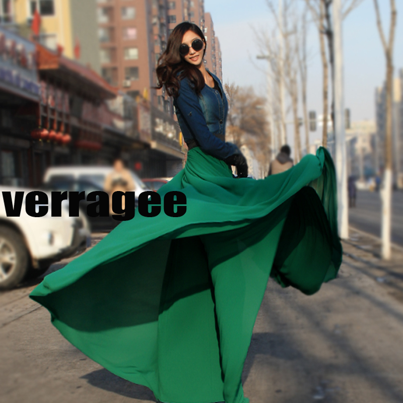 Free Shipping Spring Summer Womens Fashion Solid Maxi Skirt Chiffon floor Long 8 Meters Plus Size Beach Skirts Saia 9 Colors A22(China (Mainland))