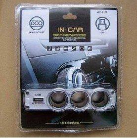 FREE SHIPPING SELLING BY 20pcs/lot USB 3 Car Cigarette Lighter Socket Splitter Charger ,cell phone car kits GPS