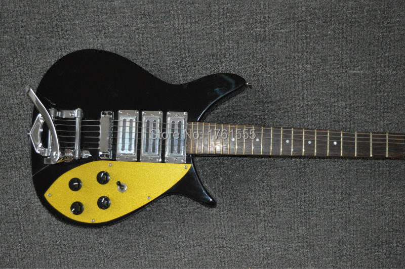 Factory Custom Black&Yellow Ricken 6 Strings Electric Guitar Hot selling China Guitar Free Shipping+in stock+cheap guitar(China (Mainland))