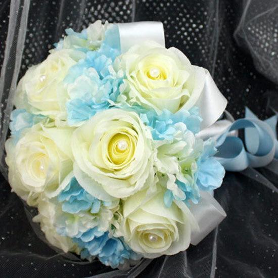 Wedding Bouquet Light Blue Off White Silk Wedding Bride Holding