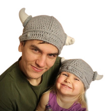 HOT! Fashion Family Fitted Winter Novelty Hat Handmade Crocheted Viking Horns Hats Knitted Kids And Adult Skullies Caps ,HT066(China (Mainland))
