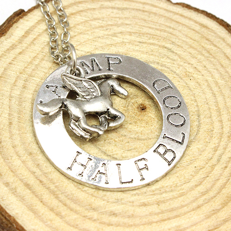 Freeshipping Popular Jewelry Percy Jackson Statement Necklaces Camp Half Blood With Fly Horse Necklace For Men/Women(China (Mainland))
