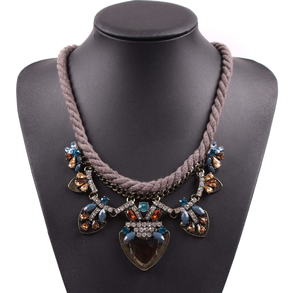 USA and Europe brand 2016 new fashion popular string cord chain crystal pendant vintage necklace for women elegant jewelry(China (Mainland))