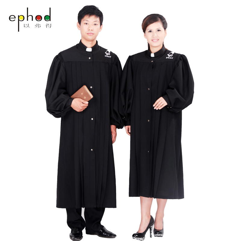 The priest's gown holy Clothing missionary Gown Robe Black Priest Cassock Robe Gown Clergyman Vestments Single Breasted Button(China (Mainland))