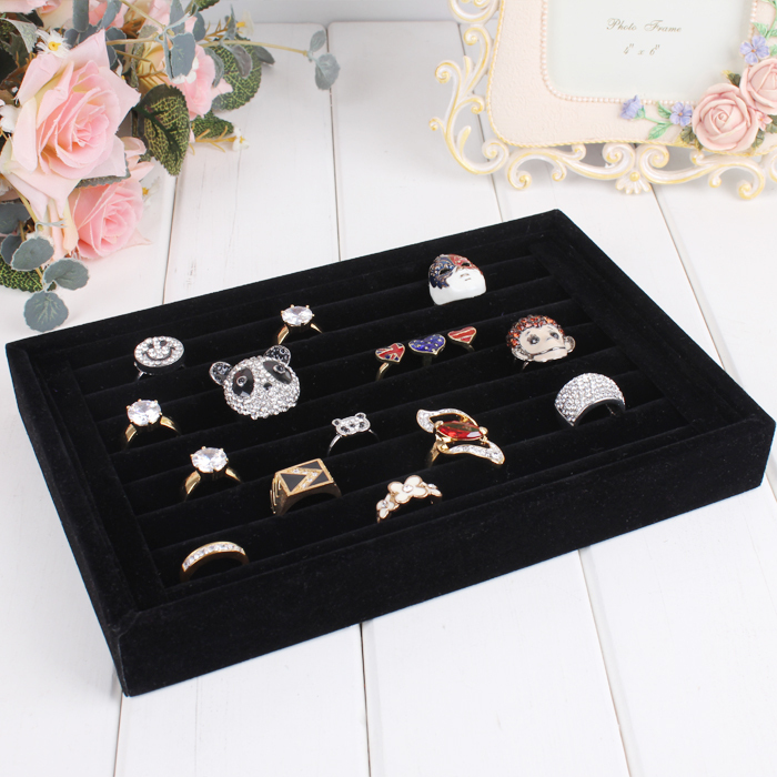 A02-1 Free shipping Jewelry Display Rings Organizer Show Case Holder Box New Black 30 Slots Ring Storage Ear Pin Display Box(China (Mainland))
