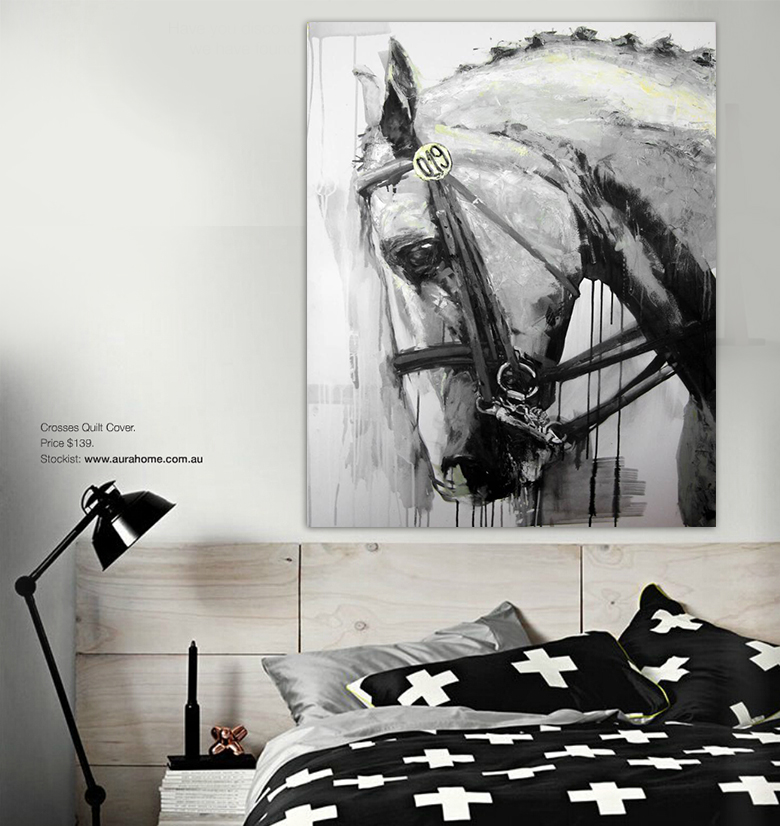 Wall Art Black Horse : Modern animal oil painting canvas wall art black and white