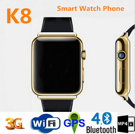 "K8 Smart Watch Android 4.4.2 System Reloj Inteligente Support WIFI GPS 2G & 3G CDMA Mobile Watch Phone 1.54"" IPS K8 Smart Watch(China (Mainland))"