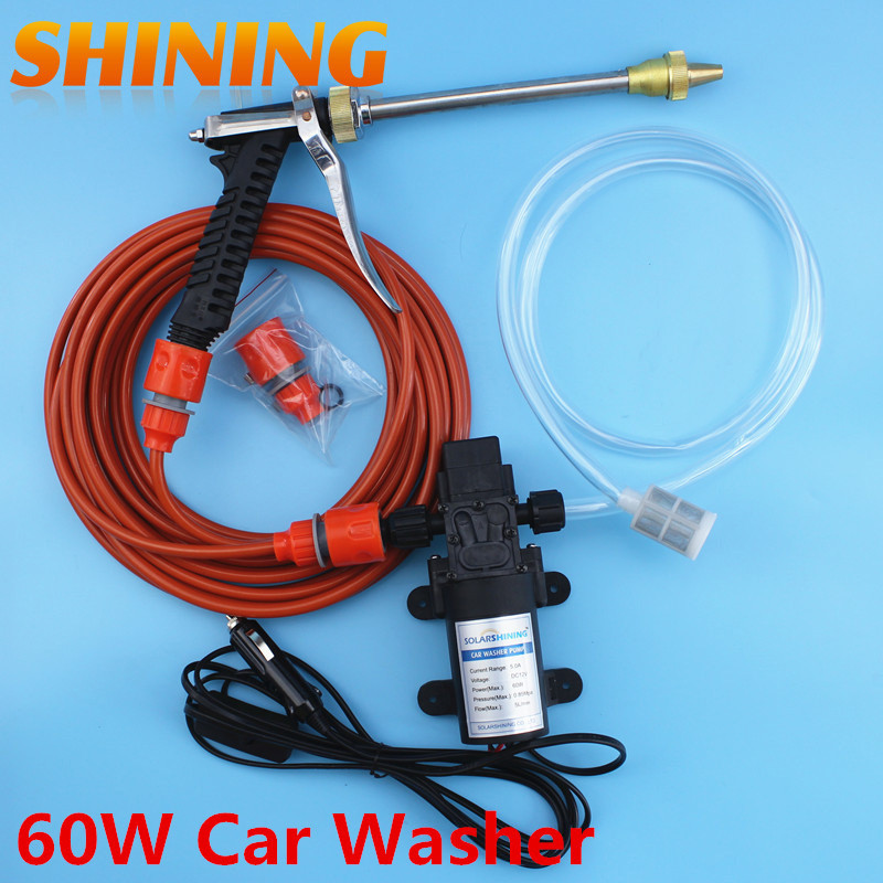 Electric 60Watts Intellighent High Pressure Car Wash 12V Used Car Wash Portable Steam Car Washer With Metal Water Gun(China (Mainland))