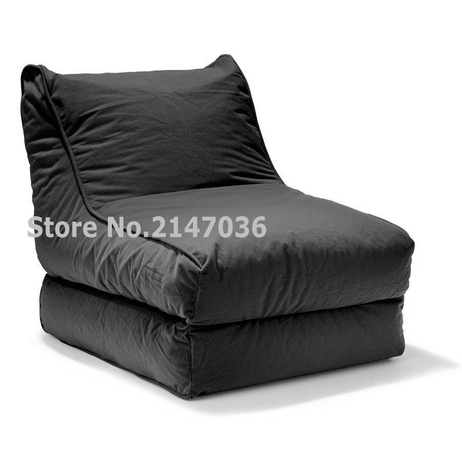 2-in-1 Convertible Bean Bag Cover Lounger Double Seater Black(China (Mainland))