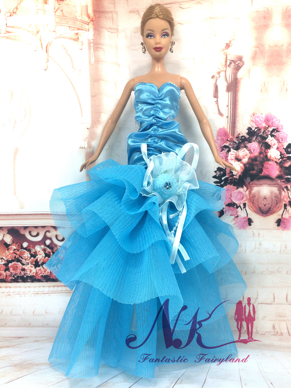 NK One Set  2016 Vogue Design Doll' Handmade Fishtail Gown with Lace Flower For Barbie Doll Finest Present For Woman' 1/6 Doll 005A