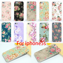2015 Freeshipping Colorful Brilliant Rose Peony Flowers Background phone case cover skin Shell for iPhone 5s 5se Phone cases