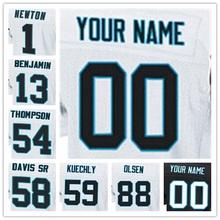 Top Quality 100% Stitched Men's #1 Cam #13 Kelvin #54 Shaq #58 Thomas #59 Luke #88 Greg Elite Black Blue White Football Jerseys(China (Mainland))