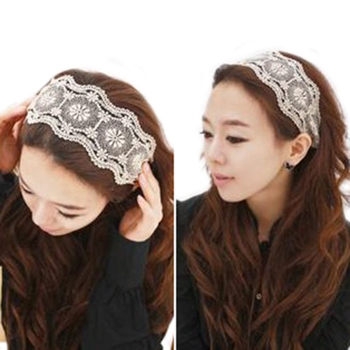 Good Elegant Womens Girls Lace Headband Hairband Retro Headwere Wide Headwraps Hair Accessories 54NO(China (Mainland))