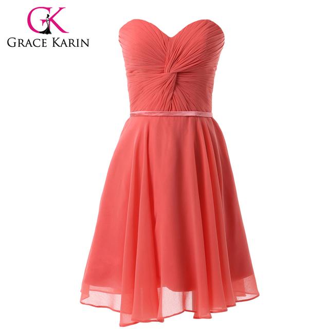 Грейс карин шифон арбуз красный длиной до колен короткие выпускные платья для студента ...