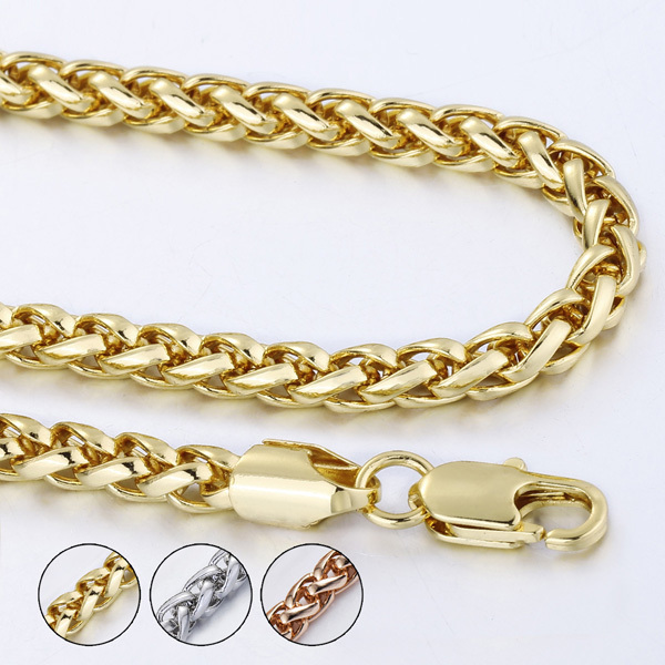 Customized ANY Length 5mm 18K Yellow Gold Filled Necklace Mens Womens Wheat Link Chain Wholesale Jewelry