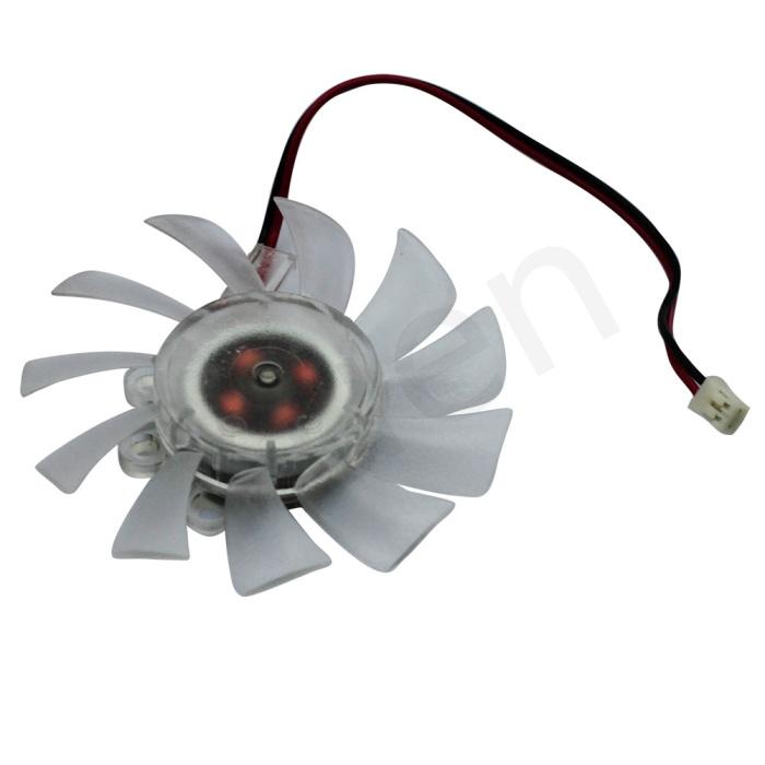 PROMOTIONAL 5PCS/LOT FREE SHIPPING 2 pin Computer PC VGA Video Card Heatsink Cooler Cooling Transparent Fan #FS011(China (Mainland))