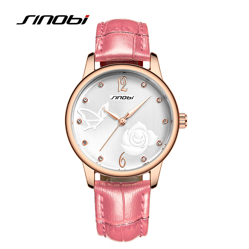 SINOBI Fashion Casual Quartz Watch for Women 6 Color Leather Diamond Wristwatches for Woman Ladies Butterfly Design<br><br>Aliexpress