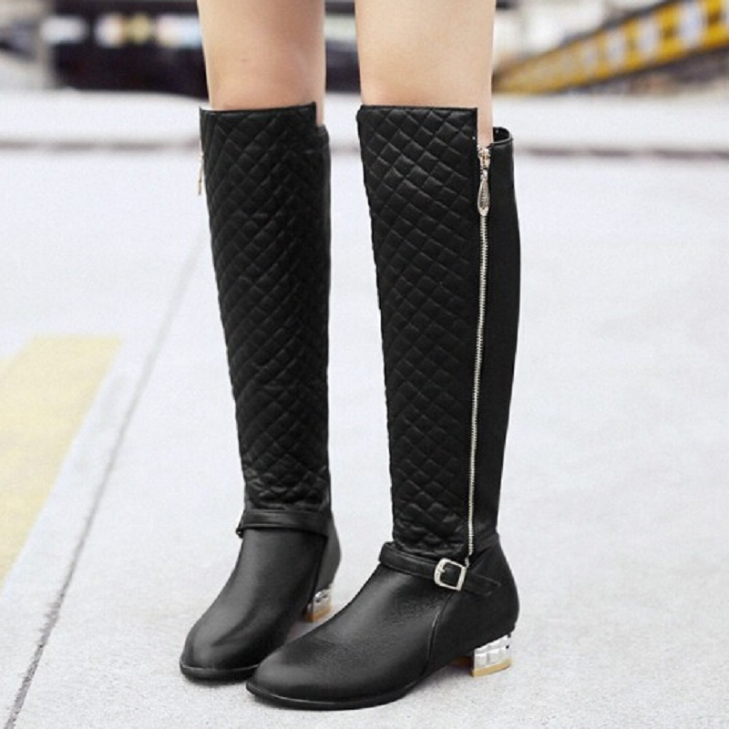 Metal Leather Winter Boots Fashion Brand Zipper Design Flats Shoes Thigh High Plus Size Women Black Gold Casual
