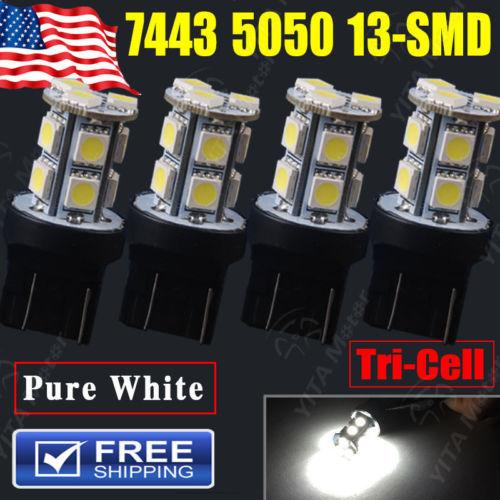 Free Shipping Car Light Lights 4Pcs Xenon White T20 7443 5050 13-SMD led Bulbs Tail Brake Stop Parking Light Bulb 7444NA Lamps(China (Mainland))