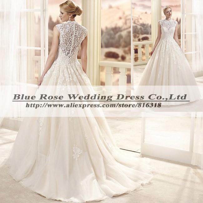 Vestidos De Noiva 2015 Pricesa High Neck Simple Wedding Dress Tulle Vintage Wedding Dress Ball Gown Church Dress Bride Casamento(China (Mainland))