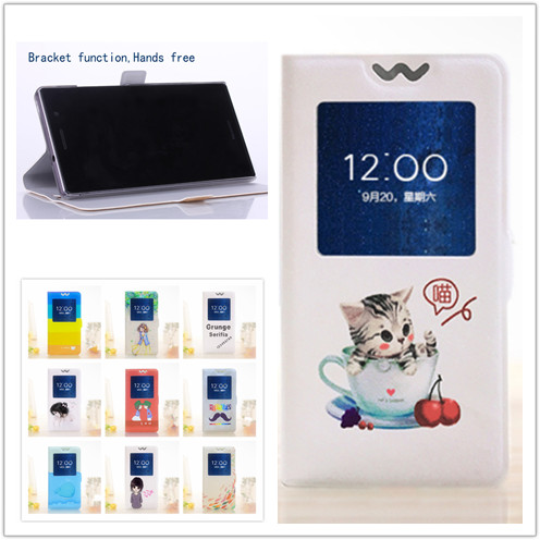 New cute cartoon Cover For Huawei y511 with View Window Flip PU Leather hard Case call phone Cover bag Printing flower girl(China (Mainland))