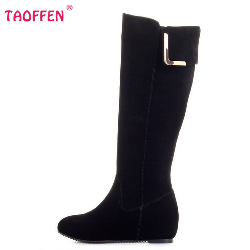 Фотография Free shipping over knee natrual real genuine leather wedge boots women snow winter warm shoes CooLcept R1277 EUR size 33-43
